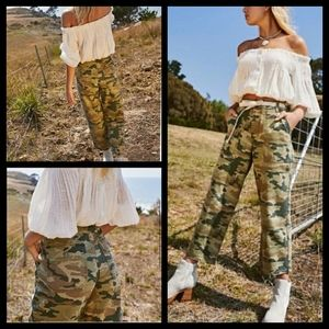 Free People Camo Crop Pants Size 26 & 27 NWT